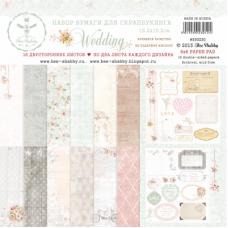 Набор бумаги для скрапбукинга Wedding, 16 двусторонних листов. Плотность 190 г/м. Размер 15.2х15.2 см. Bee Shabby.