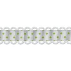 Лента декоративная Белая в зеленый горошек. ширина 1,5 см, 100% полиэстер (1 метр)