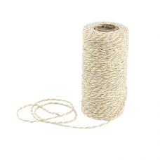 Шнур витой для декорирования, состав: пенька, 2 цвета (белый, желтый), 1 м