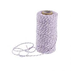 Шнур витой для декорирования, состав: пенька, 2 цвета (белый, фиолетовый)