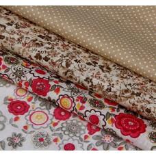 """Набор ткани для пэчворка """"Цветочное шале"""" (3 шт., размер 30*40 см)"""
