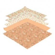 Набор тканей для творчества 5шт. 25х25 см. (оранжевый лен/хлопок)