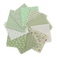 Набор тканей для творчества 10шт. 25х25 см. (зеленый лен/хлопок)