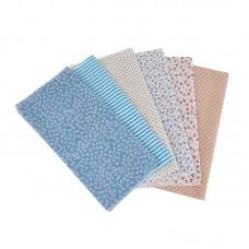 Набор тканей для творчества 6шт. 25х25 см. (сине-коричневая гамма, лен/хлопок)
