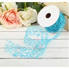 """Лента упаковочная """"Ажур"""", цвет голубой, Размер 450 см × 5 см"""
