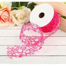 "Лента упаковочная ""Ажур"", цвет тёмно-розовый, Размер 450 см × 5 см"