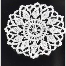 Кружевная салфетка гипюровая D=4,5 см, Цвет белый.