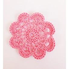 Кружевная салфетка D=5,5 см, Цвет розовый.