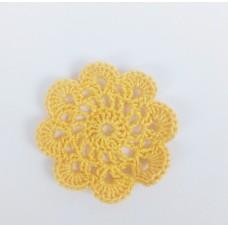 Кружевная салфетка D=5,5 см, Цвет желтый.