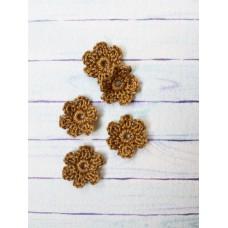 Вязаный декор набор цветочков D=2.2-2.5 см, 5 шт. Цвет хакки.