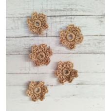 Вязаный декор набор цветочков D=2.2-2.5 см, 5 шт. Цвет светло-коричневый