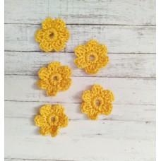 Вязаный декор набор цветочков D=2.2-2.5 см, 5 шт. Цвет жёлтый