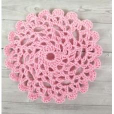 Кружевная салфетка D= 9 см, Цвет розовый