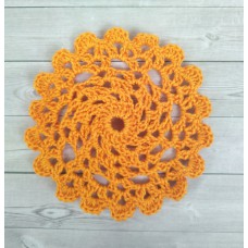 Кружевная салфетка D=9см, Цвет оранжевый