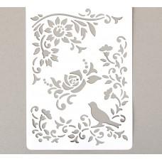 """Трафарет """"Птица в розовом саду"""", 21 см × 31 см"""