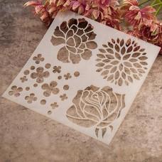 """Трафарет """"Бутоны цветов"""", 13 см × 13 см"""