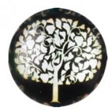 Кабошон черный с белым деревом. Диаметр 20мм. 1 шт.