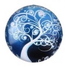 Кабошон синий с белым деревом. Диаметр 20мм. 1 шт.