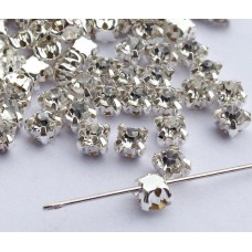 Стразы 4мм пришиваемые, серебро (Набор 50шт.)
