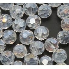Бусина круглая с гранями 6 мм, Цвет прозрачный с перламутром на отдельных гранях. 1 шт.