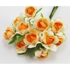 Набор цветов из ткани 2,5 см, цвет бело-оранжевый (6 штук)