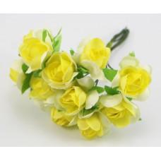 Набор цветов из ткани 2,5 см, цвет желтый (6 штук)