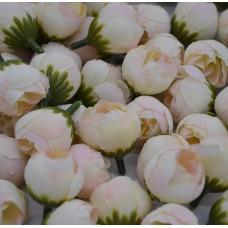 Цветок Ранункулюс шелк, цвет кремовый с розовым 2,5 см, 1 шт.