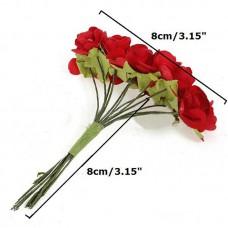 """Декор для творчества """"Красные Розы"""" (набор 12 цветков)"""