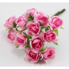 Набор цветов из ткани 2,5 см, цвет розовые (6 штук)