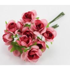 Набор цветов из ткани 2,5 см, цвет темно-розовый (6 штук)