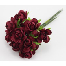 Набор цветов из ткани 2,5 см, цвет бордовый (6 штук)