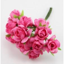 Набор цветов из ткани 2,5 см, цвет малиновый (6 штук)