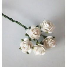 Цветы Розочки белые 1 см, 5 шт.