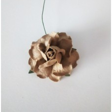 Цветок Розы с бархатными листьями, цвет кофе с молоком 4 см, 1 шт.