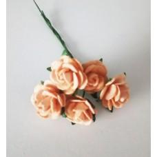 Цветы Розочки персиковые 1,5 см, 5 шт.