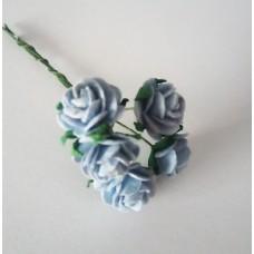 Цветы Розочки голубые 1,5 см, 5 шт.