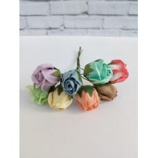 Набор цветов нераскрывшийся бутон Розы, разные цвета 2 см, В наборе 8 шт.