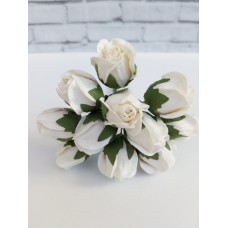 Цветок нераскрывшийся бутон Розы, цвет белый 2 см, 1 шт.