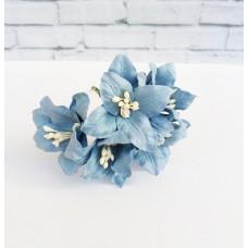 Декор для скрапбукинга Лилия, 3 см, цвет синий, 1 шт.
