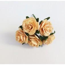 Декор для творчества Цветок Розы, цвет персиковый 2 см., 5 шт.