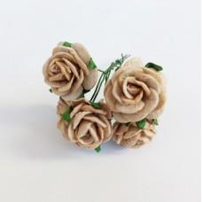 Декор для творчества Цветок Розы, цвет кофейный 2 см., 5 шт.
