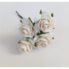 Декор для творчества Цветок Розы, цвет белый 2 см., 5 шт.