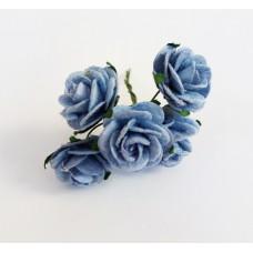 Декор для творчества Цветок Розы, цвет синий 2 см., 5 шт.