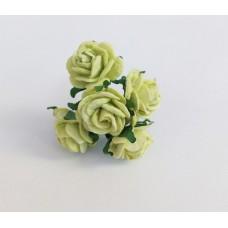 Декор для творчества Цветок Розы, цвет лайм 2 см., 5 шт.