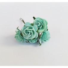 Декор для творчества Цветок Розы, цвет мятный 2 см., 5 шт.