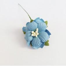 Декор для скрапбукинга Пион, 3,75 см, цвет синий, 1 шт.