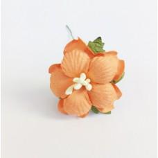 Декор для скрапбукинга Пион, 3,75 см, цвет оранжевый, 1 шт.