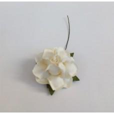 Цветок Розы с бархатными листьями, цвет белый 4 см, 1 шт.