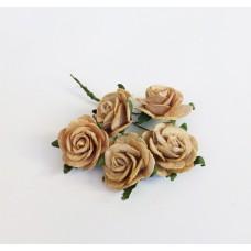 Цветок Розы, цвет кофе с молоком 2,5 см, 1 шт.