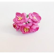 Цветок Вишни, цвет темно-розовый 2,5 см, 5 шт.